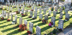 Vista general del cementerio con lápidas